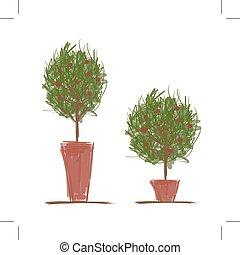 ollas, con, árbol verde, para, su, diseño