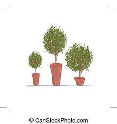ollas, diseño, árbol, verde, su
