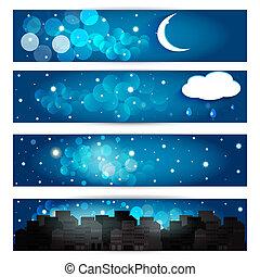 ?ollection, ......的, 夜晚, sky., 矢量, eps10.