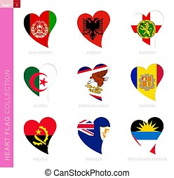 ?ollection of flags in the shape of a heart.