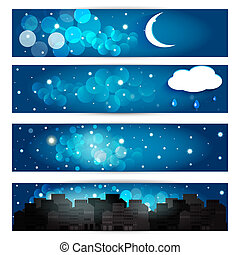 ?ollection of night sky. Vector EPS10.
