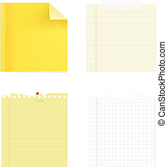 ?ollection Of Note Papers - 4 Note Papers, Isolated On White...