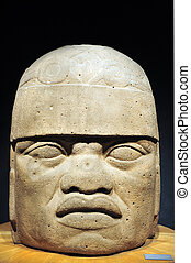 Olmec colossal head from the pre-Columbian heritage of...
