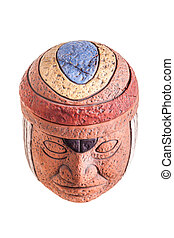 Olmec god - a terracotta olmec face idol souvenir isolated...