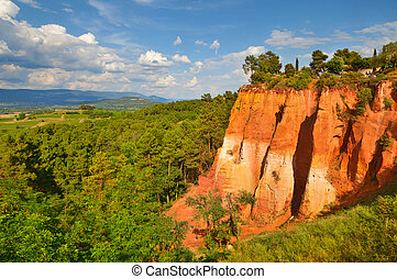 ?olored ochre mountain in Rousillon. Provence, France.