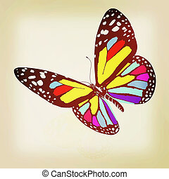 ?olorful butterfly. 3D illustration. Vintage style.