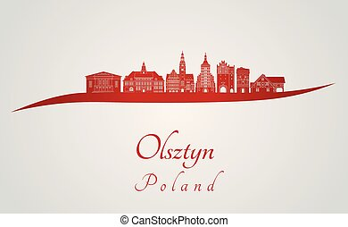Olsztyn skyline in red