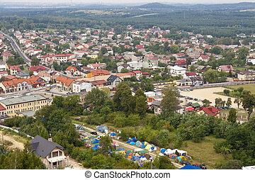 Olsztyn town - aerial view.