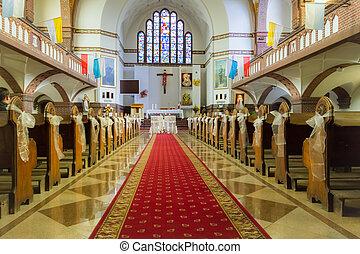 oltár, alatt, a, templom, előbb, a, esküvő