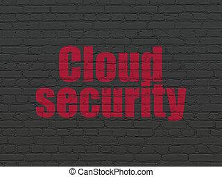oltalom, concept:, felhő, biztonság, képben látható, fal, háttér