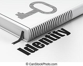 oltalom, concept:, könyv, kulcs, személyazonosság, white,...