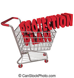 oltalom, terv, kiterjedt, garancia, kiterjedés, bevásárlókocsi