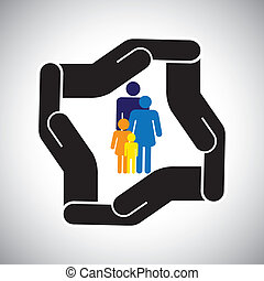 oltalom, vagy, biztonság, közül, család, közül, atya, anya, gyerekek, fogalom, vector., a, grafikus, is, őt előad, család health, biztosítás, baleset, biztosítás, s a többi
