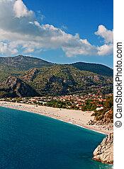 oludeniz, strand, in, turkiet, på, a, somrar dag