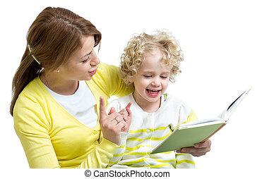 olvas, könyv, kölyök, együtt, anya