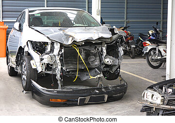 olycka, skadat, bilar