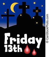 olycklig, 13, fredag, illustration., fredag, över, cemetery., kyrkogård, numrera, friday., silhouette., thirteen., dag, vektor, 13, natt, måne, dag