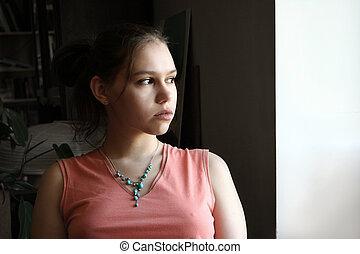 olycklig, flicka, tonåring