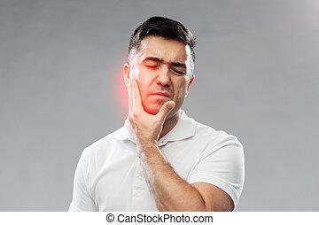 olycklig herre, lidande, tandvärk