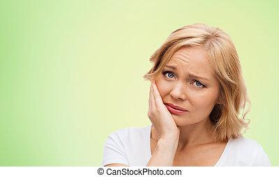 olycklig, kvinna, lidande, tandvärk