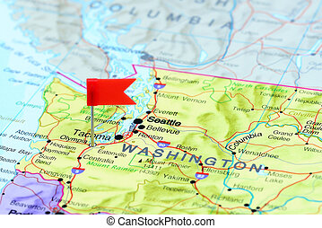 Olympia pinned on a map of USA - Photo of pinned Olympia on...