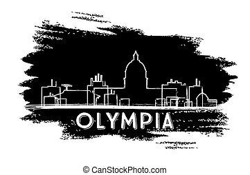 Olympia Skyline Silhouette. Hand Drawn Sketch.