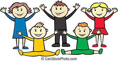 olympic children - vector happy children isolated on white...