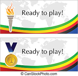 Olympic frame with torch and medal - Olympic text frame with...