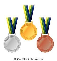 An illustration of Olympic gold, silver, and bronze medals and ribbons with Brazil colors. Vector EPS 10 available. EPS file contains transparencies.