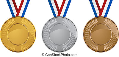 Olympic medals set isolated on a white background.