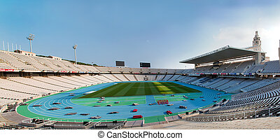 Olympic stadium in Barcelona, Spain. Wide panoramic view