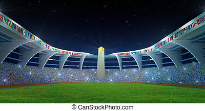 Stadium field with flags and olympics flame in night time