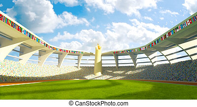 Stadium field with flags and olympics flame