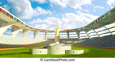 Olympic Stadium with podium for athletes awards