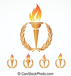 Greek Olympic Torch with golden crown of laurels. Olympics games symbol. Isolated over white background.