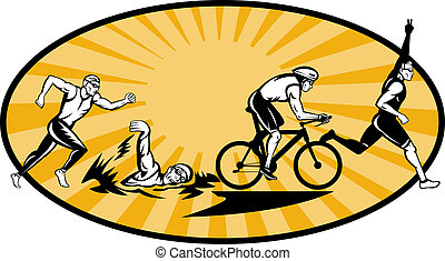 Olympic triathlon athlete swim bik run - illustration...