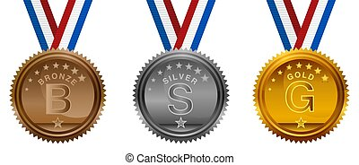 Olympic USA Bronze Silver Gold Medals Set