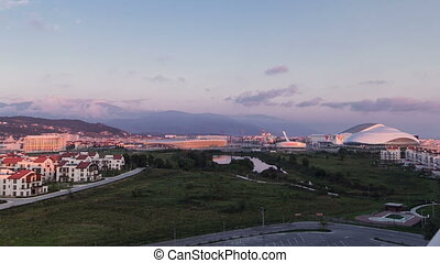 Olympic village and park before sunset timelapse.