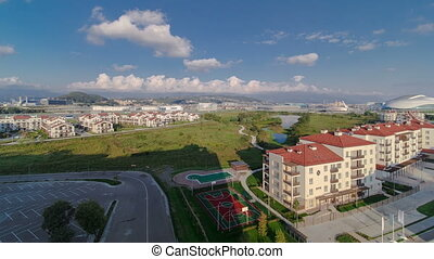 Olympic village timelapse. Complex of dwelling-houses, where the sportsmen of the Olympic games lived 2014 year