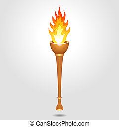 Olympic vintage torch - Vintage, olympic, bronze and old...