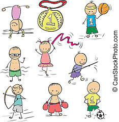 Olympics doodle - Funny childrens pictures of different...