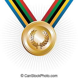 olympics, spelen, gouden medaille, met, laurierkroon