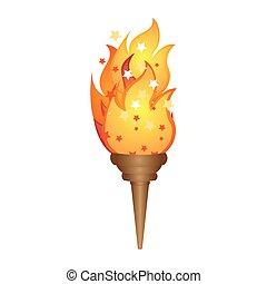 Dor torche flamme dor vecteur torche eps flamme - Flamme olympique dessin ...