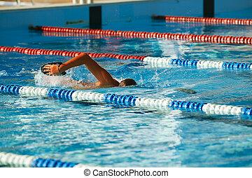 olympisch, opleiding, zwemmer