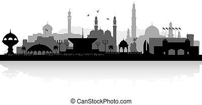 omán, silueta del horizonte, muscat, ciudad