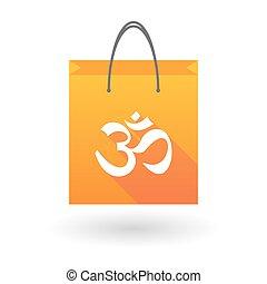 om, achats, signe, sac, orange, icône