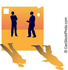 om, affärsfolk, två, talande, jobb, lose., silhouettes