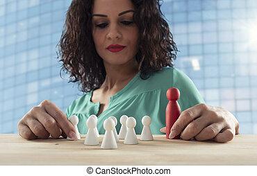 om, affärskvinna, företag, strategi, lag, tänker