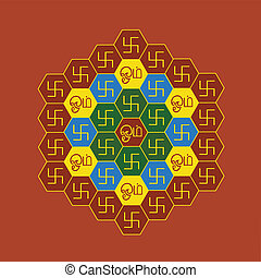 Om and Swastika Hexagonal Chart - A chart / pattern contain...