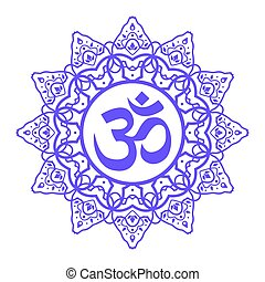 om aum symbol - om symbol, aum sign, with decorative indian...